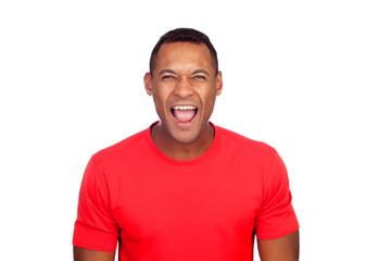 Latin American casual man screaming