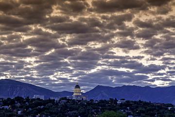 Fototapete - Clouds over the capital in Salt Lake City Utah