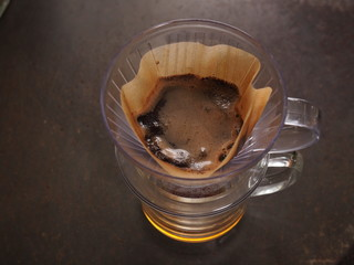 Cup of Dripping fresh hot coffee