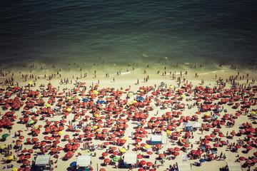 Crowded Copacabana beach in Rio de Janeiro