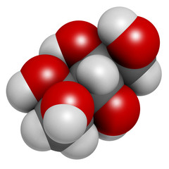 Xylitol artificial sweetener molecule. Used as sugar substitute.