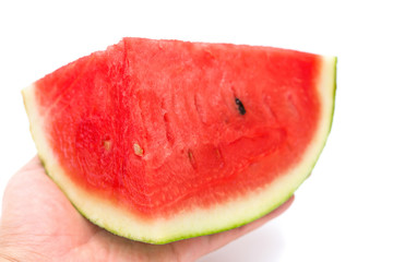 hand holding a piece of watermelon on a white background