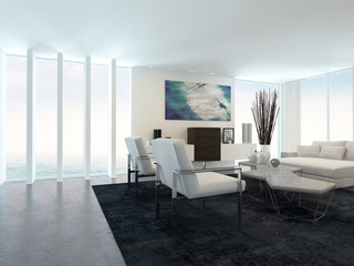 Modern Living Room in Apartment with Large Windows