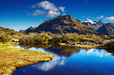 Fototapete - Lake at the Key Summit, New Zealand