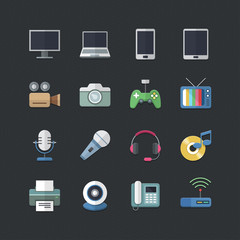 Electronic Devices icons set with Flat color style