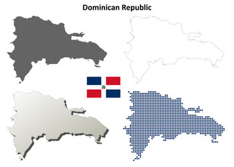 Dominican Republic blank detailed outline map set