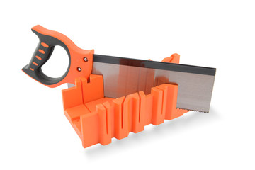 Junior hacksaw with orange plastic handle