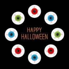 Eyeballs bloody streaks. Round frame  black. Halloween card Flat