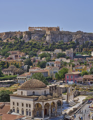 Acropolis and Plaka famous neighborhood, Athens Greece