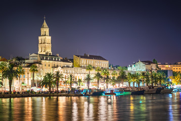 Split - Croatia, at night with Diocletian palace