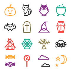 Happy halloween icon set in flat design style.