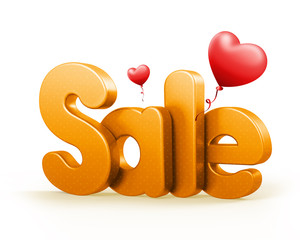 3D Rendered Sale Text with Baloons
