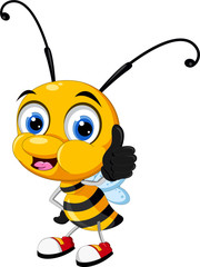 Funny little bee cartoon thumb up