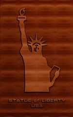beautiful wood carving texture statue of liberty usa