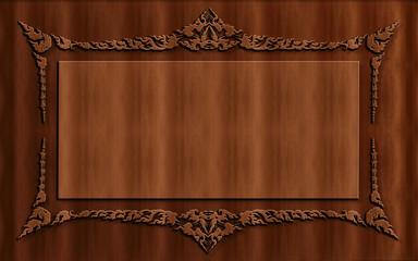beautiful wood carving Thai art texture