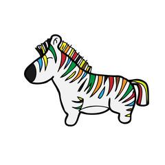 Zebra colorful cartoon