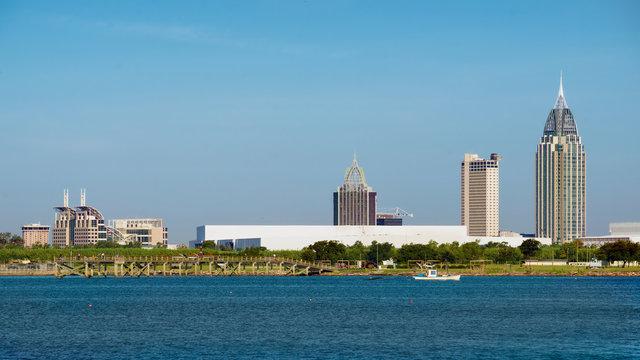 Mobile, Alabama, skyline on Mobile Bay