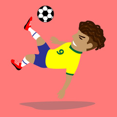 Brazilian Soccer Player Take a jump kick the ball