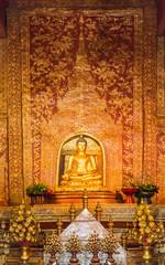 """""""Phra Sihing Buddha"""" Thai gold buddha statue in Chiang Mai, Thai"""