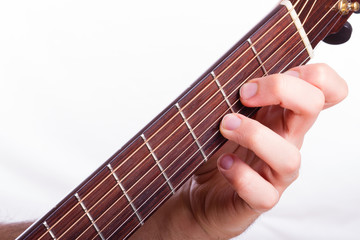 D minor chord performed on acoustic guitar
