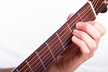 A minor chord performed on acoustic guitar
