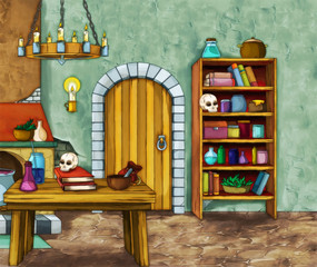 Old room - witch house - illustration for the children