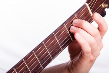 E minor chord performed on acoustic guitar