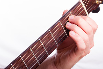 E major chord performed on acoustic guitar