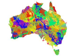 Australia Watercolor Map