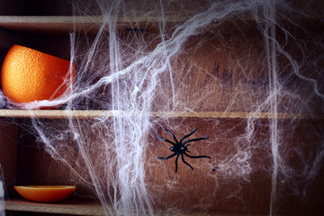 Spooky Halloween spider web background