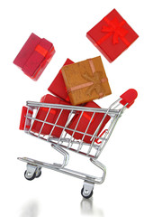 Shopping cart with gift boxes isolated on white