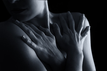 Body scape of woman neck and hand emotion artistic conversion
