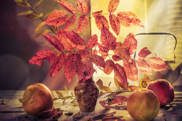 Fall Autumn autumnal bouquet Still Life apples sprigs