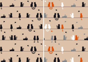 cats with birds, seamless pattern, vector set