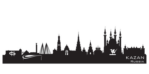 Kazan Russia city skyline Detailed silhouette