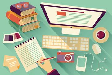 Flat design objects, work desk, long shadow, office desk