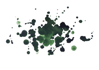 Abstract watercolor aquarelle hand drawn dark green drop