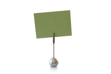 Klemmständer mit papier grün; zettel klemme; Notizhalter