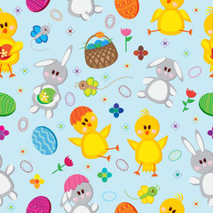 Colored Easter eggs, bunnies, baskets, flowers, chickens, and