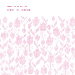 Pink textile tulips texture horizontal frame seamless pattern