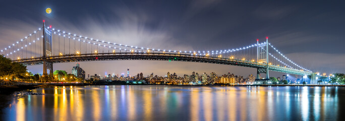 Fotomurales - Triboro Bridge panorama at night