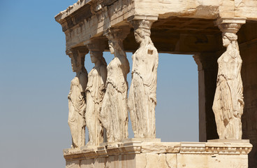 Acropolis of Athens. Caryatids columns. Greece