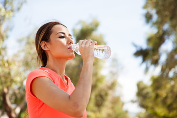 Drinking water outdoors