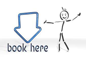 stick man presents book here sign