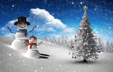 Composite image of christmas tree and snowman