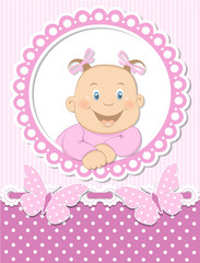 Happy baby girl scrapbook pink frame