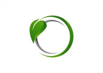 Set of eco icons with green leaves