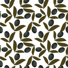 Seamless texture with olive fruits