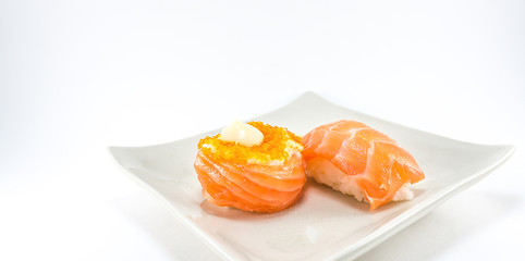 sushi roll and salmon nigiri sushi