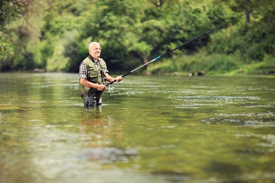 Mature fisherman fishing in a river